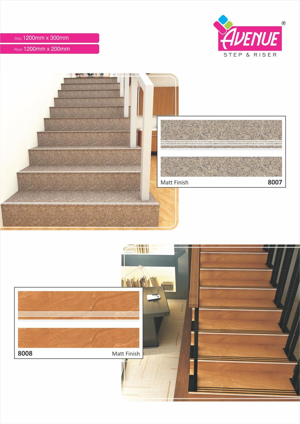 Digital Step & Riser Border Tiles Series with size, color
